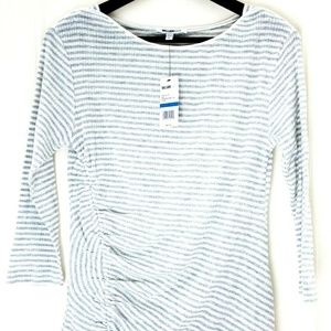 William Rast Side-Ruched Blouse Heather Striped